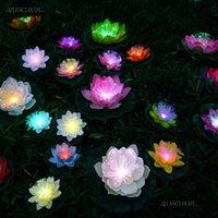 الزهور الزهور أكاليل الاصطناعية led الألياف البصرية ماء بركة زهرة رؤساء ضوء لوتس ورقة زنبق اللون الزفاف الرئيسية حديقة مصباح