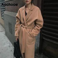 Aachoae Lady Solid Long Wool Coat Batwing Long Sleeve Elegant Office Jacket Female Turn Down Collar Casual Coat Women 210924