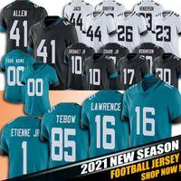 "16 Trevor Lawrence Tim Tebow Jersey DJ Chark Jr Travis Etienne Shenault Jr Futbol Formaları Jacksonville ""Jaguar"" 23 CJ Henderson Myles Jack"