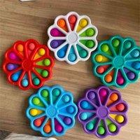 Fidget Bubble Poppers Arco-íris Flor Board Sensory Finger Brinquedos Empurrar Bolhas Número Cartas Imprimir Sunflower Squeeze Bolas Puzzle Dedo Divertimento Jogo H486NNNN