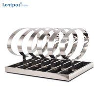 High End Stainless Steel Belt Bracket Stand Rack Display Holder Storage Show Shelf Five-holders Ring
