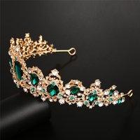 Tiaras Dupdeikes Bridal Crown Share Surthy Baroque Queen Golden / Red / Green / Серебряный Цвет для опции Свадебные платья Аксессуары Кристалл ручной работы белый K Diamond