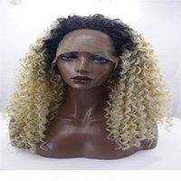 Кружевные фронтские парики вьющиеся светлые волосы афро черные смешанные темные блондинки омбре волосы пушистые вьющиеся вьющиеся длинные кружева передний парик термостойкий + крышка парик для моды