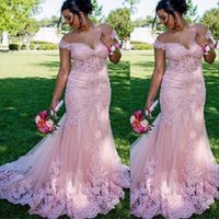 2021 Sexy Pink Saudi Arabia Prom Dresses Off Shoulder Dubai Mermaid Full Lace Appliques Illusion Evening Dress Formal Party Gowns Custom Made Sweep Train