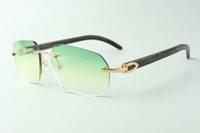 Direct sales designer sunglasses 3524024, black textured buffalo horn temples glasses, size: 18-140 mm