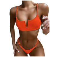 Women's Swimwear Swimsuit Nylon Bathing Suit 2021 Women Sexy Solid Bikini Push-Up Padded Beachwear Set