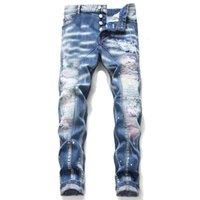 독특한 망 고민 된 찢어진 파란색 마른 청바지 패션 디자이너 슬림 맞는 모터코 사이클 데님 바지 패널 힙합 바이커 바지