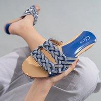 Chinelos Femininos Dedo Do Pe Quadrado Sapatos de Salto Plano 2021 Verao Luxo Strass Dessiscizamento Em Sandalias Senhoras Roma Pantofole