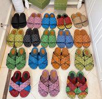 Lüks Tasarımcı Kadın Terlik Tuval Platformu Sandalet Gerçek Deri Bej Tuğla Kırmızı Renkler Plaj Slaytları Terlik Açık Parti Klasik Sandal Kutusu Boyutu 35-45