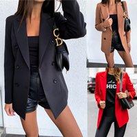 Дизайнер Blazers Женская мода стиль сплошной цвет с длинным рукавом двубортный костюм куртка для осенних и зимой повседневных бизнес-вершин