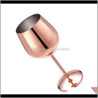 Glasses Stainless Steel Red Wine Glass Sier Rose Gold Goblets Juice Drink Champagne Goblet Party Barware Kitchen Drinking Tools 500Ml Aonid