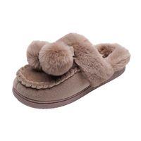 النساء النعال الشتاء الأحذية المسطحة الحلوة المنزل امرأة داخلي الفراء الدافئة الناعمة الانزلاق على الوردي الإناث النعال YXYT