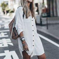 2019 Женщины Лето Длинные Рубашки с длинным рукавом Мода Черный Белый Длинные Свободные Блуза Пляж Праздник Повседневная Рубашка Топ Улица Новый X0521