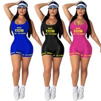 2020 Women designer letter overalls summer clothing jumpsuits new style scoop neck rompers shorts sleeveless vest print S-XL capris