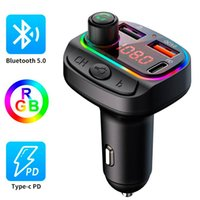 Bluetooth 5.0 FM Transmitter Car MP3 Player Wireless Handsfree Car Kit for Phone QC3.0+18W PD Quick Charger RGB Breathing Light U Disk Music