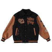 American Streetwear Retro Varsity Jacket Men Letter Embroidery Bomber Clothes Brown Baseball Uniform Coat Harajuku Unisex