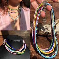 Chokers Bead Necklace Handmade Seed Choker Colorful Bohemian Beaded Short Collar Women'S Jewelry Gift