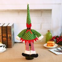 Christmas Red Wine Bottle Cover Xmas Decor Polka Dot Stripe Wine Bottle Bags For Home Party Decorations Supplies HWD10385