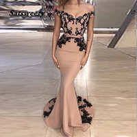 Champagne Mermaid Evening Dress Black Lace Appliques Off The Shoulder Floor Length Prom Dresses Long Formal Party Gowns