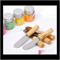 Mutfak Mutfak Yemek Bar Ev Bahçe Bırak Teslimat 2021 100 ADET Paslanmaz Çelik Ahşap Tereyağı Bıçak Tatlı Reçel Serpme Kahvaltı Aracı Peynir