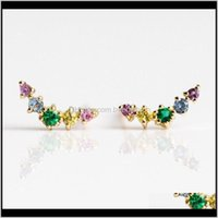 Earrings Jewelry Fashion Small Lovely 5 Pcs Colorful Curved Bar Stud Gold Rainbow Cz Earring Fashion1 Drop Delivery 2021 Fjd6L