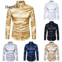 İpek gömlek erkekler saten pürüzsüz katı smokin iş rahat slim fit parlak altın gelinlik gömlek erkek