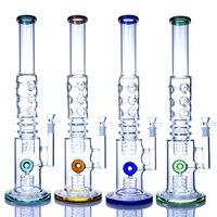 Hookahs 20 polegadas Quatro cores Bongo de vidro com tubos de água 14mm apito percolador acessórios para tabaco