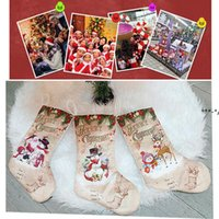 Рождественские украшения Конфеты подарочные пакеты Xmas Snowman Мультфильм Носки Рождества Дерево кулон Санте Клаус Празднование партии HHA7735