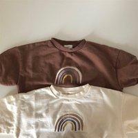 Осенний малыш Baby Girls Boys Rainbow вышивка для вышивки Топы Топы Дети Длинные рукава Футболка Толстовка Детская одежда 952 Y2