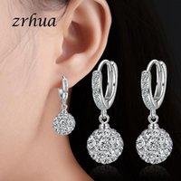 Dangle & Chandelier ZRHUA Authentic 925 Sterling Silver Shiny Ball Cubic Zircon Drop Earrings Gift Pendientes Oorbellen Boucle D'oreille Fem
