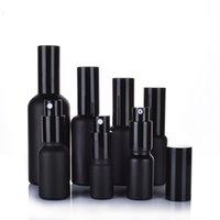 Garrafas de embalagem do perfume do óleo de vidro preto fosco com pulverizador fino da névoa / bomba da loção