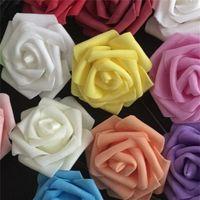 25 머리 8cm 새로운 다채로운 인공 PE 거품 장미 꽃 신부 꽃다발 홈 웨딩 장식 Scrapbooking DIY 용품 517 R2