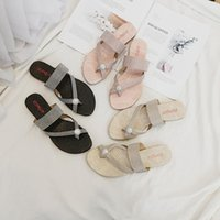 Slippers Summer 2021 Fashion Outdoor Crystal Flip-flops Women's Beach Shoes Sandals Flat-heeled Elegant