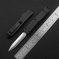 portable quick opening double action tactical automatic knife D2 stone wash blackening blade aviation aluminum handle Kitchen dinner cutter