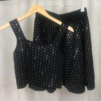 2021 Brand Same Style Two Pieces Sets Spaghetti Strap Empire Sleeveless Fashion Womens Dress Beads Short Skirt XUE