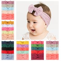 5 unids / set lindo bowknot bebe diadema turbante color sólido recién nacido niños niñas elastic Hairbands suave nylon cabello accesorios