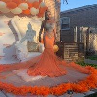 See Thru African Evening Dress Mermaid Long Train Feathers Prom Gowns Crystals Beading Formal Wear Elegant Vestido De Novia