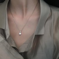 Geometrische Wassertropfen Reale 925 Sterling Silber Halskette für Frauen 2021 Trend Naszyjnik Bijoux Femme Choker Collares Ketten