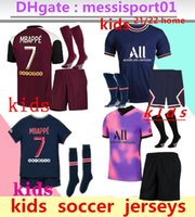 Дети 2021 2022 MBAPPE Paris Soccer Technys 3RD 4HT Наборы 21/22 Maillot ICARDI Boys Full Set Униформа Футбольная рубашка