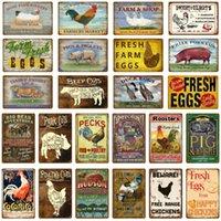 Oeufs de canard de poulet frais porc cochon de la vache de boeuf lait boeuf cerceau métal panneaux panneaux muraux affiche peinture plaque maison magasin magasin décor ferme