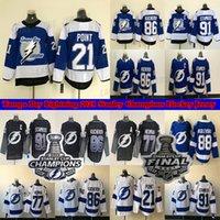 Tampa Bay Lightning Jersey 2021 Stanley Cup Champions 86 Nikita Kucherov 77 Victor Hedman 21 Brayden Point 88 Andrei Vasilevskiy 91 Steven Stamkos الهوكي الفانيلة