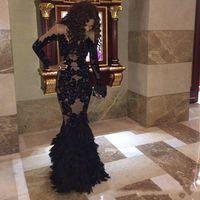 Роскошные платья выпускного лица из черного пера с длинными рукавами Fairho Champane арабские вечерние платья Real Tulle Mermaid формальные платья платья плюс размер