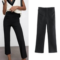 Pantalones para mujer Capris Wesay Jesi Ropa 2021 ZA Verano para mujeres Cintura alta Vintage Straight Fashion Chic Chic Pantalones Oficina Dama