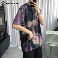Men's T-Shirts T-shirt For Men Tie Dye Hip Hop Streetwear T Shirt Sleeve Short Cotton Loose Oversized Mens Summer Tops Tees M-5XL