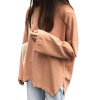 Women's T-Shirt Fashion Autumn Solid Color Long-sleeved Student Korean Loose Top Bottoming Shirt Women 2021