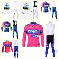 Lampre 팀 사이클링 긴 소매 유니폼 (BIB) 남성 긴 소매 세트 Ropa Ciclismo Hombre 가을 MTB 자전거 사이클링 의류 B616-69