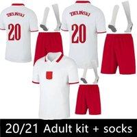 2021 2022 Polska Soccer Jerseys Set Lewandowski National Team Football Shirts Casa Branco Milik Piszczek Piatek Grosicki Kit Adulto + Meias