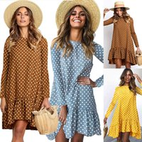Women Plus Size Dress Herfst Long Mouwen O-neck Casual Loose Ruches Polka Dot Clothing 2020 Fashion New Party Dress