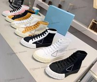 2021 Avec boîte Casual Chaussures Designer Rose Rose Cassetta Re-Nylon Sneakers Haute Top Plat Tissu Formateurs Toile Stitching Gabardine Lerren Low Styliste