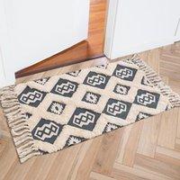 Carpets Hand Woven Cotton Linen Carpet For Living Room Retro Boho Area Rugs Kids Bedside Floor Mat Bedroom Tapestry Decor Blanket